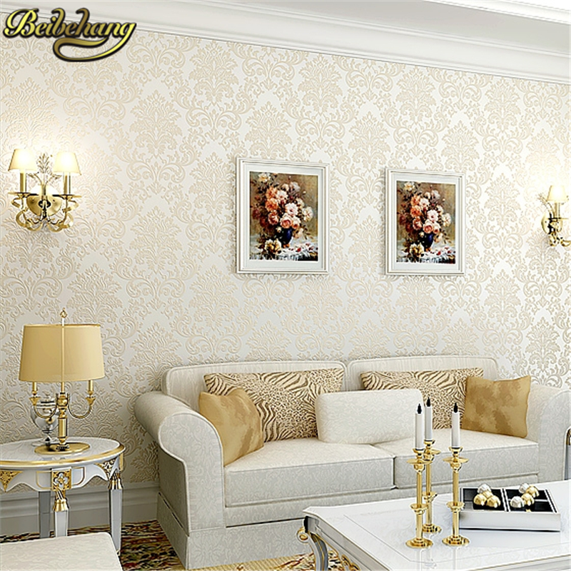 цены beibehang Modern papel de parede 3d wallpaper Luxury Flocking Floral Damask Wall paper Roll For Living room Bedroom TV Backdrop