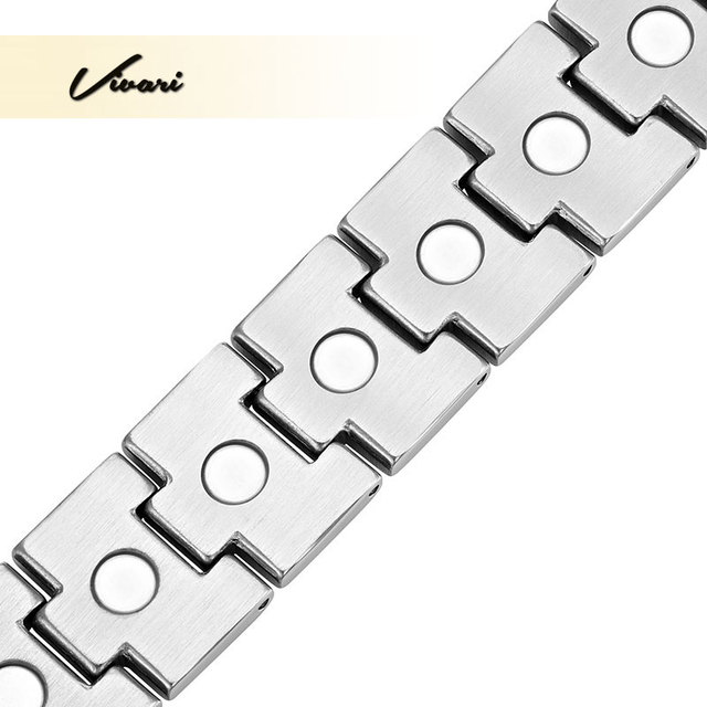 Vivari 2017 Bio Healing Stainless Steel Silver Bracelet for Men Magnetic Fashion Bangle Jewelry Gift Charm