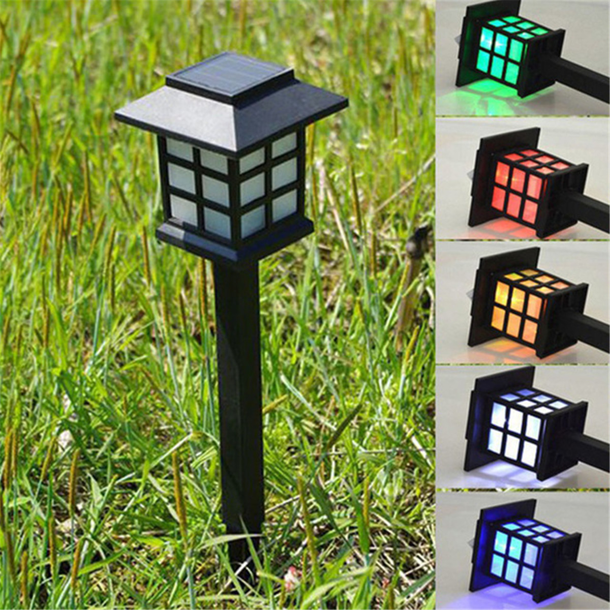 Solar Power LED Garden Fence Path Way Wall Landscape Mount Outdoor Lamp Light Colorful/White/Warm Light Auto-light Function Save