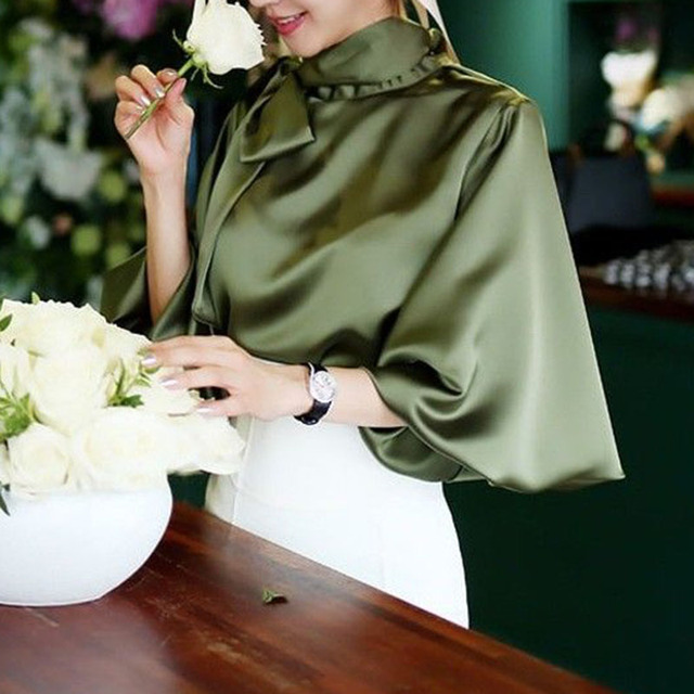 new party office Ladies shirt autumn solid Vintage Satin Lantern Sleeve Shirt Bow Tie Neck Loose Elegant Blouse Top women shirts