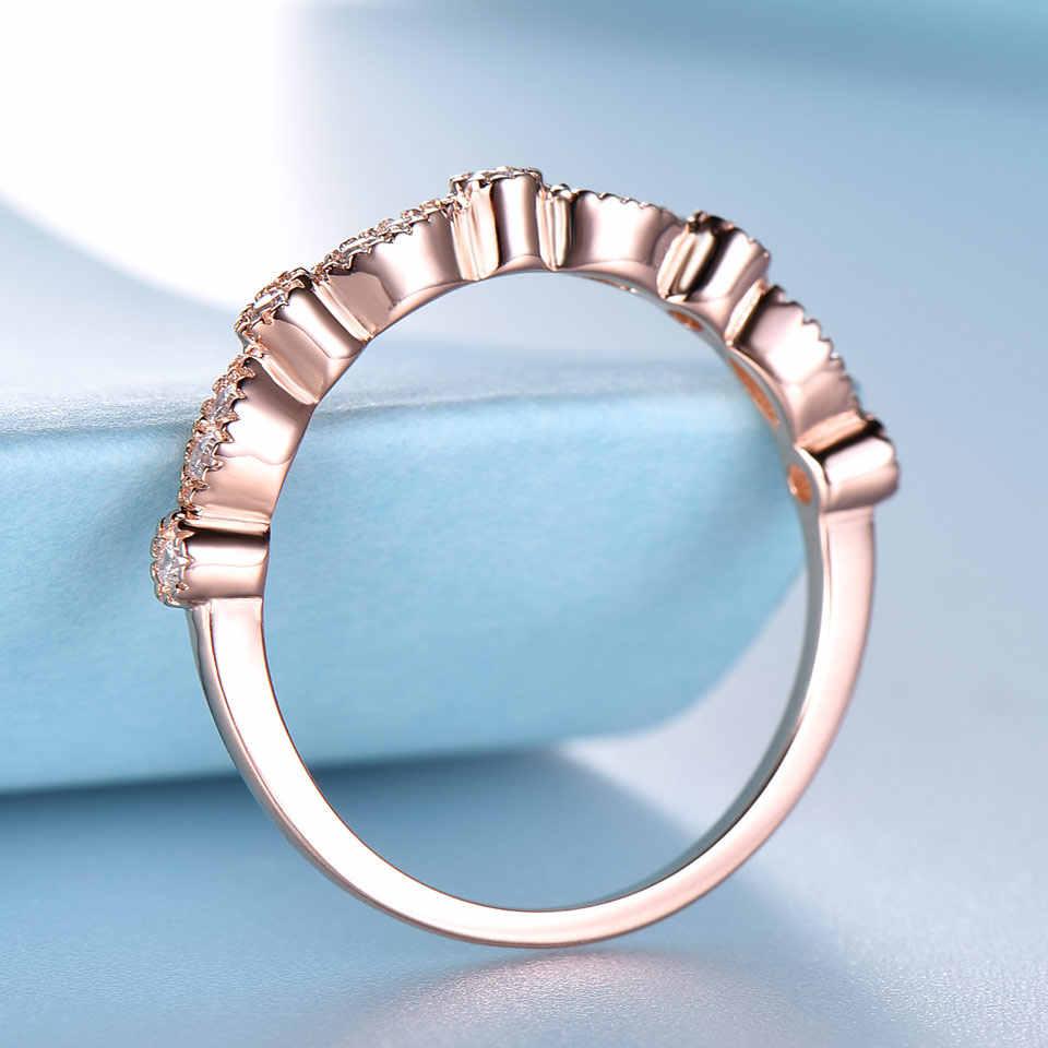 UMCHO 925 เงินสเตอร์ลิงแหวนเงินผู้หญิง Stacked Rose สีชมพูหมั้นแหวน Minimalist Fine เครื่องประดับคลาสสิก