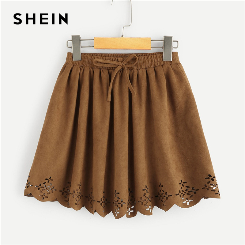 SHEIN Kiddie Brown Solid Cut Out Bow Front Casual Girls Skirt Children Skirts 2019 Spring Scallop Elegant Mini Teenager Skirts blue cut out round neck short sleeves casual top