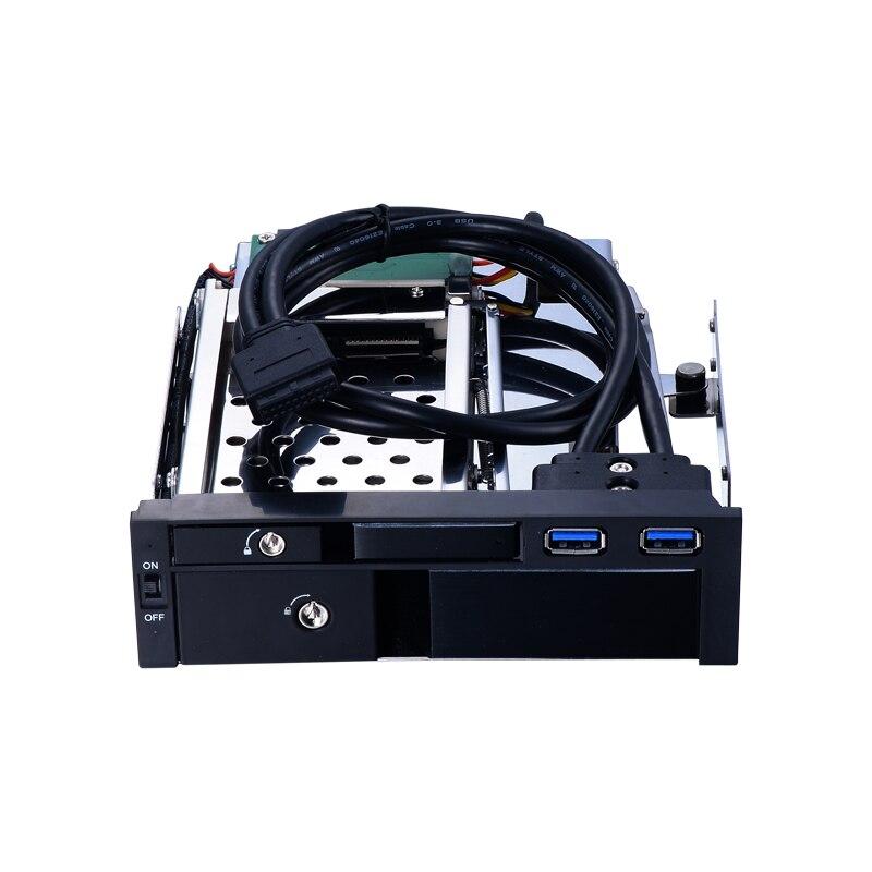 Tout le support mobile optique d'alliage d'aluminium de 5.25 pouces pour le HDD/SSD de 2.5 pouces et le boîtier de HDD de 3.5 pouces avec le noir de caddy d'échange à chaud