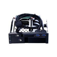 all aluminum alloy 5.25 inch optical mobile rack for 2.5 inch HDD/SSD and 3.5 inch HDD enclosure with Hot-swap caddy black