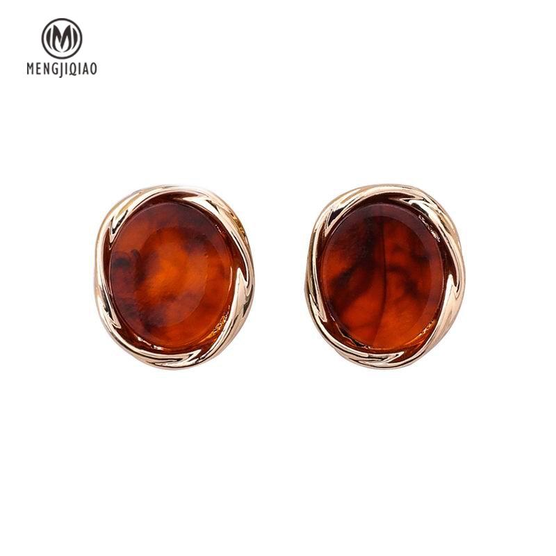 MENGJIQIAO 2018 New Vintage Round Acrylic Stone Stud Earrings For Women Simple Temperament Small Boucle D'oreille Bijoux Femme