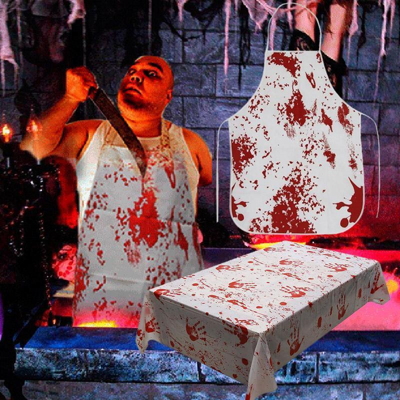 Horror Blood Handprint Tablecloth Bloody Blood Aprons
