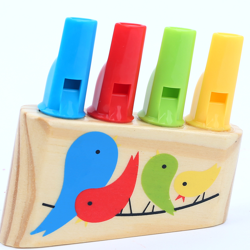 Rainbow Panpipe Wooden Toy Birds Whistling Musical Education Kids Gift Whistle Children Infant Musical Toys