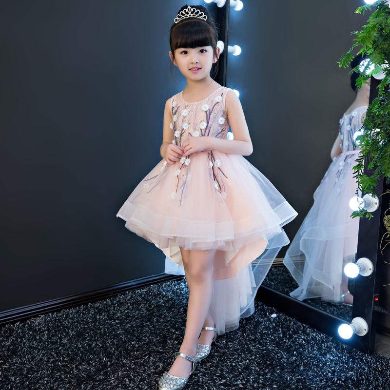 baby girls elegant train lace dresses children embroidery flowers kids tail evening ball gown birthday wedding christmas dress