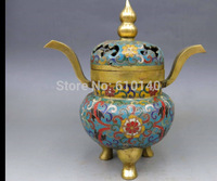 9 China bronze Cloisonne Safety Buddhism Gourd censer Incense burner Statue