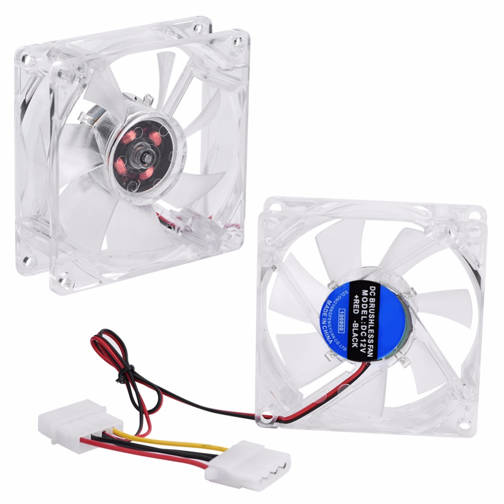 80mm LED Light 12V 4Pin CPU Heatsink Cool PC Case Cooling Fan Computer Cooler 2017 practical good quality 12v 2 pin 55mm graphics cards cooler fan laptop cpu cooling fan cooler radiator for pc computer notebook aluminum gold heatsink