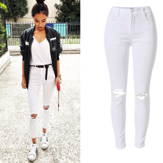 756733fcb5b9c NiceMix Jeans Woman High Wasit Jeans Plus Size Casual Tassel Ripped Denim  Pants Sexy Skinny White Pencil Pants Jeans Femme