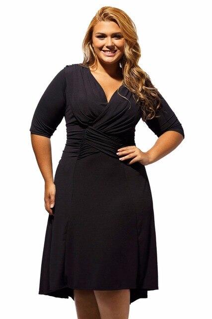 YC61394 Sexy V neck women plus size black dress half sleeve big size office dress new brand sexy dress plus size clubwear hot