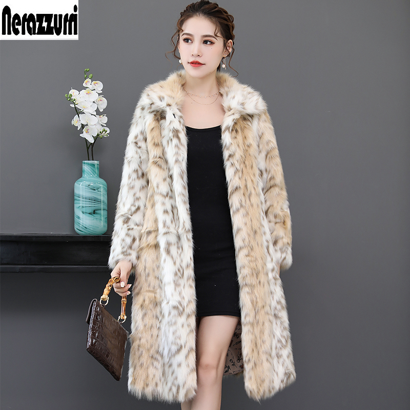 Nerazzurri Long leopard faux fur coat for woman raglan sleeve winter fake fur coat fluffy leopard
