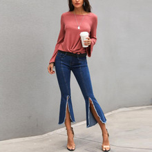 New spring hot high waist was thin female jeans fashion personality casual pants sexy wide leg loose Slim ladies flare