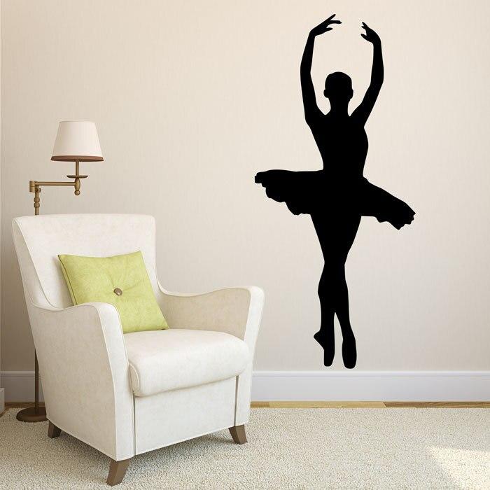 Elegant Ballerina Themed Wall Stickers Modern Ballet Art