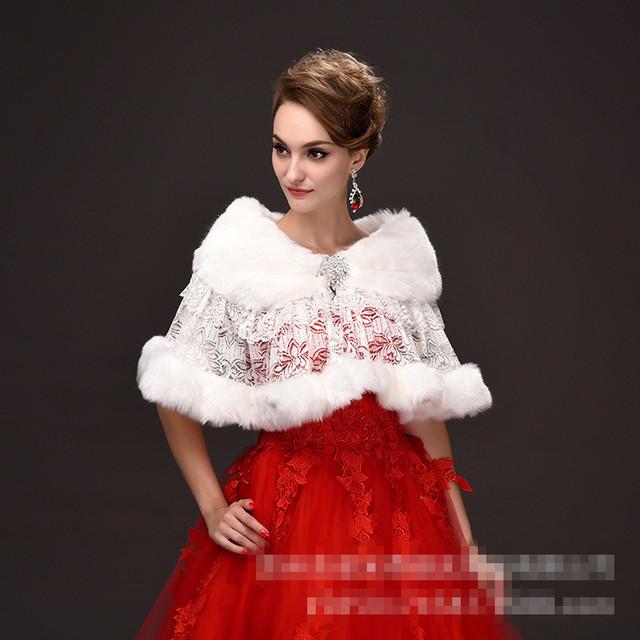 Brasão do casamento do inverno Wraps casaco de pele branco acessórios do casamento laço nupcial Jacket faux fur Bolero nupcial quebra Bolero frete grátis