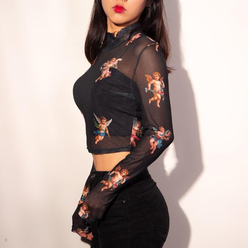 New Fashion Women See-through Sheer Mesh Fishnet T-Shirt Fashion Top Cute Angel Printed Female Summer Mesh Tops 5