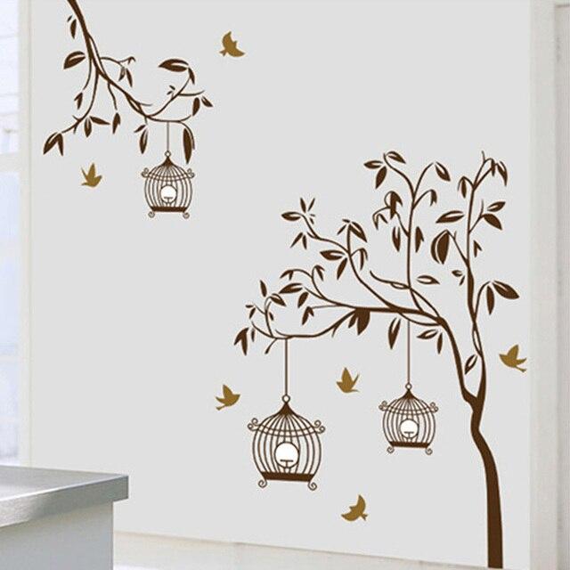 Oiseaux cage branche duarbre vinyle wall sticker mural for Autocollant mural arbre