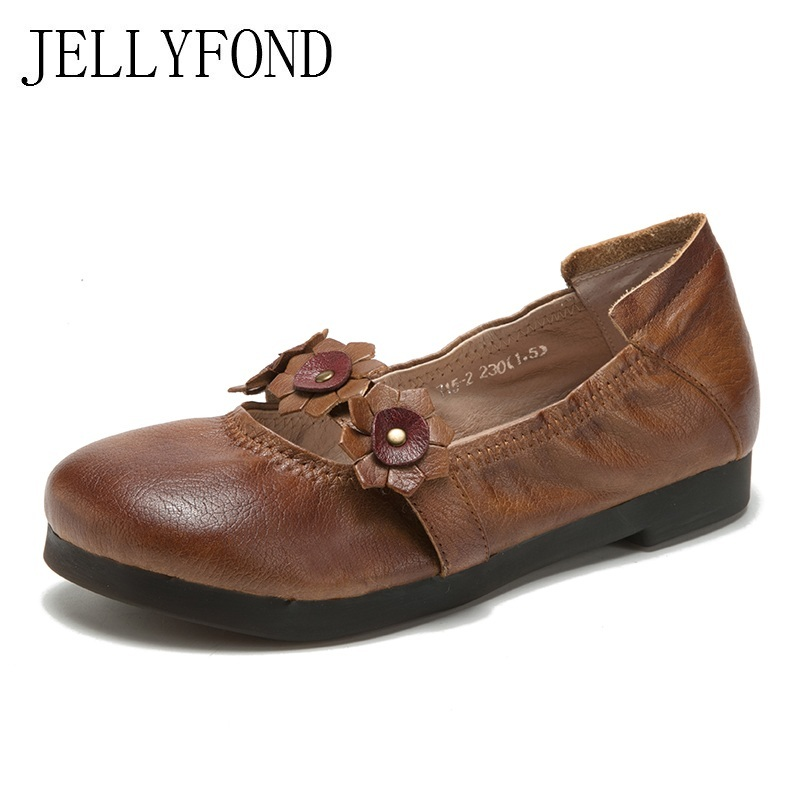 2018 Spring Genuine Leather Retro Flat Shoes Women Vintage Style Handmade Flower Mary Janes Designer Casual Shoes Woman vintage style twig shape flower embellished women s earring