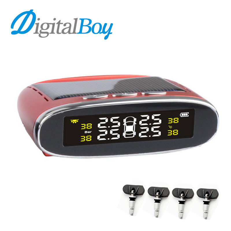 New Solar Car TPMS Type Pressure Monitoring System Diagnostic Tool Tire Pressure Monitor Temperature Alarm Internal Sensors only one audio auto car wireless tpms tire pressure alarm system tpms with 4 internal sensors car diagnostic tool