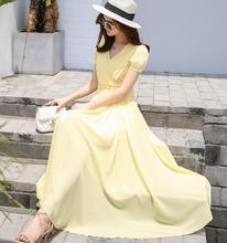 Free Shipping Korean Style Deep V Collar Pure Color Pleated Waist Short Sleeve Woman Chiffon Long Dress