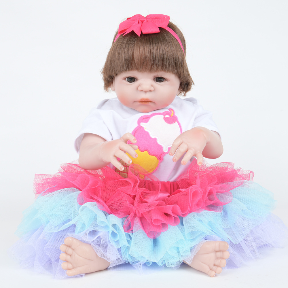 55cm Soft Full Silicone Vinyl Reborn Baby Doll Realistic Girl Dolls for Children Kids Toy Birthday Xmas New Year Christmas Gift children 22 early factory supply new soft vinyl reborn baby dolls silicone toy gift new education boy baby doll 55cm