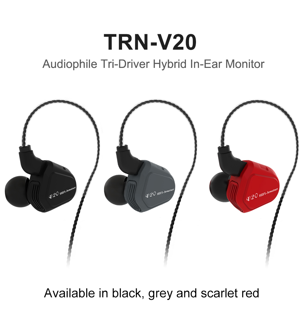 Más TRN V20 DD + BA híbrido en la oreja los auriculares HIFI DJ Monitor deporte del auricular auriculares con 2PIN cable TRN V10/V60