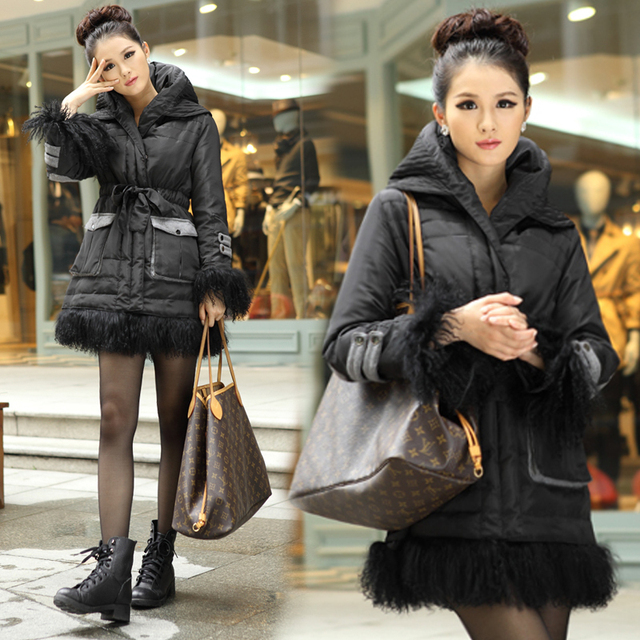 Free shipping 2013 winter women's down coat female elegant slim thick medium-long with a hood outerwear 0221071308