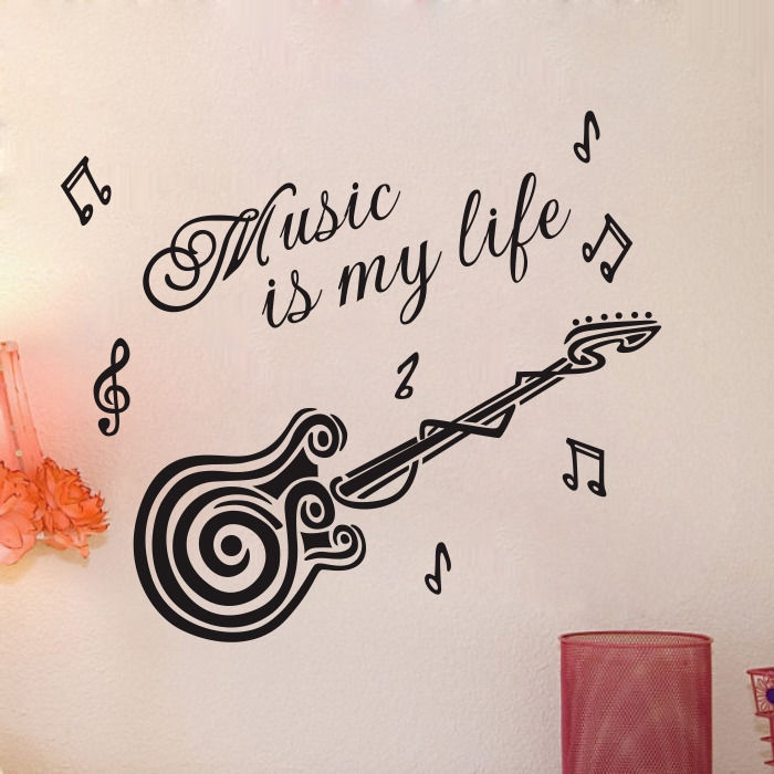 Quote Music Is My Life Guitar Wall Mural Decal Sticker Diy Home