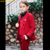 2019 New Autumn Winter Formal Children Sets Red Suit Vest Pants Girls Clothing Sets Kids Suit For 3 14 Years Terno Infantil