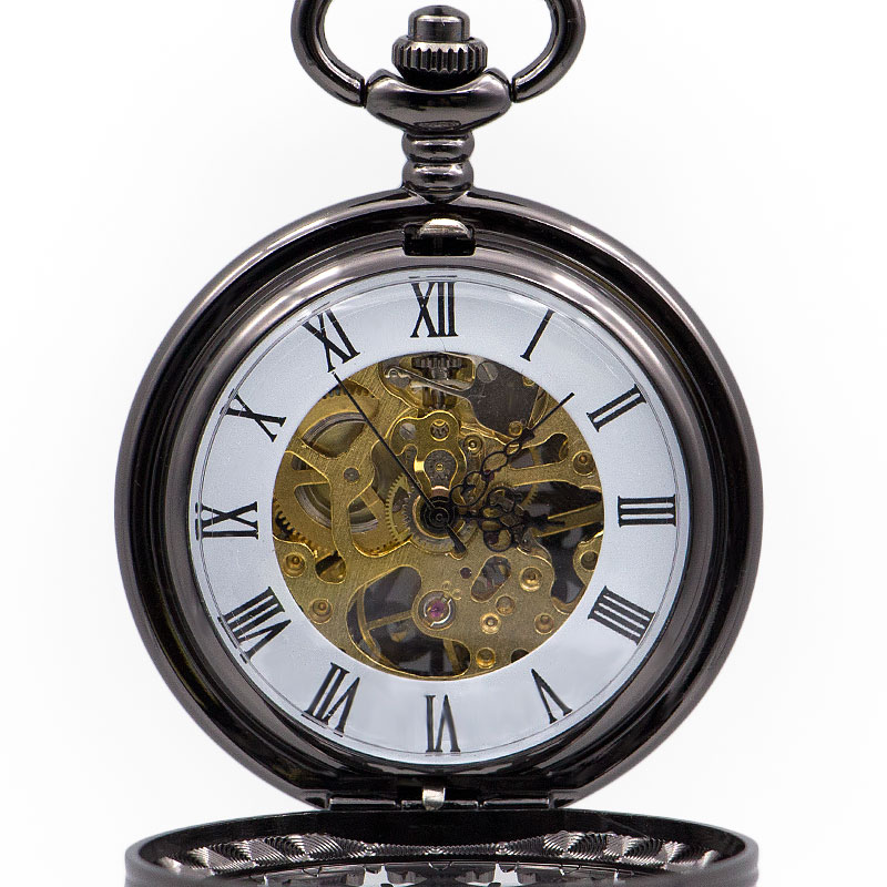 Crreative Hollow Gear Roman Numerals Mechanical Pocket Watch FOB Watch Chain Necklace Pendant Gift Men Reloj De Bolsillo