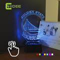 USB Novelty Christmas Lamp for NBA Warriors 3D RGB Led Light Lamparas De Mesa Touch Night Light as Home Decor Indoor Lighting
