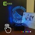 USB de La Novedad de la Lámpara De La Navidad para LA NBA Warriors 3D RGB Led Luz Lamparas De Mesa Táctil Luz de La Noche como Decoración Para El Hogar Iluminación Interior