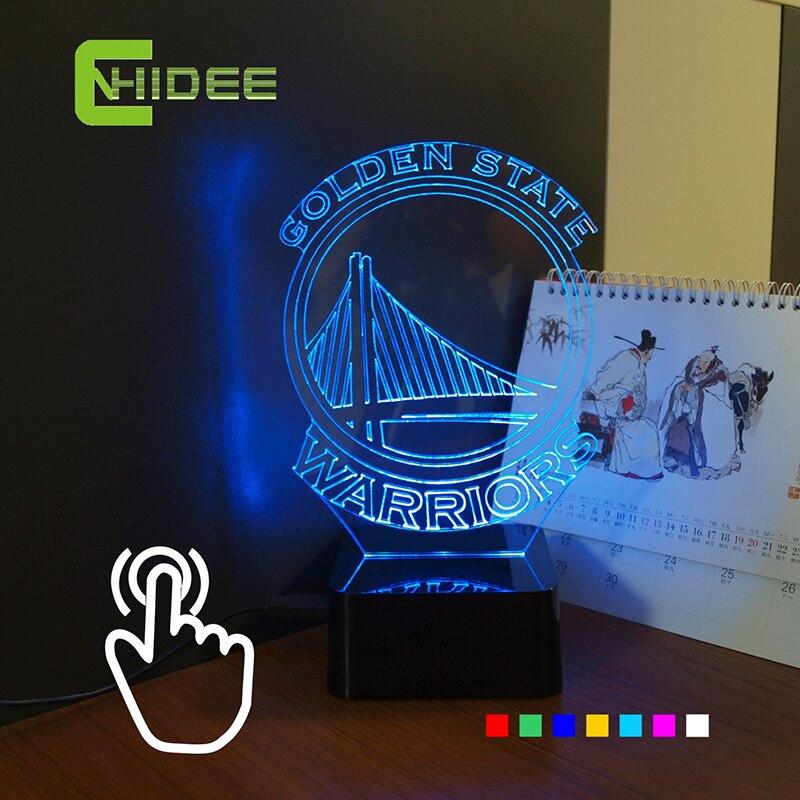 USB novedad Navidad lámpara para NBA Warriors 3D RGB LED lamparas de mesa táctil luz de la noche como Decoración para el hogar interior iluminación