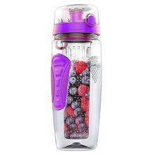 TOP!-1000ml/32oz Fruit Infusing Infuser Water Bottle Plastic Sports Detox Health-purple