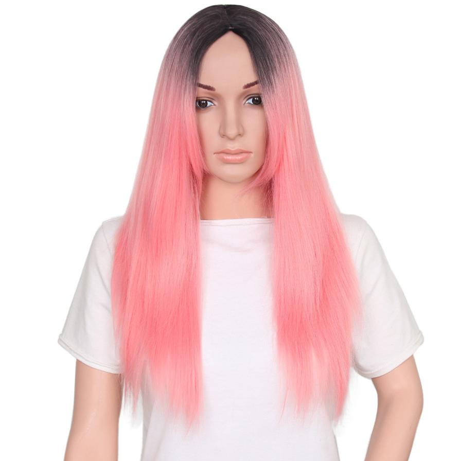 Women Fashion Lady Long Straight Gradient Color Hair Cosplay Party Wig AP10
