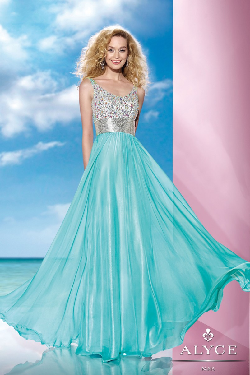 cheap 2015 Bright New Hot Coral Blue Long Prom gowns With Colourful ...