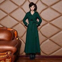 2016 Autumn and Winter New Fashion Ultra Long Women's Jacket Coat Plus Size Elegant Windbreaker Double Breasted Woolen Overcoat