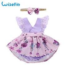 Wisefin Baby Kleider für Mädchen Blumen Baby Mädchen Outfit Floral lila Neugeborenen Kleid 0-1Jahr Sleeveless Kleidung Bogen Stirnband Set