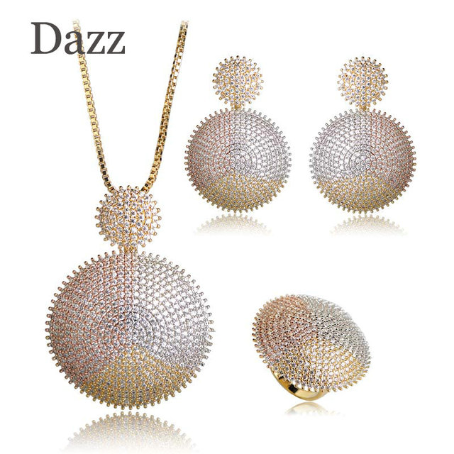 Dazz Top Quality Double Round Jewelry Sets AAA Cubic Zirconia Bridal Wedding Big Pendant Necklace Earring Ring Set Copper Bijoux