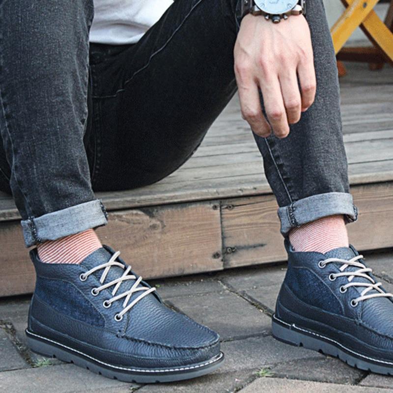 Vintage Handmade Mens De Confortável 59 Eg Inverno Genuíno Casuais Do Botas Couro up Mocassins Marinho Blue Navy Sapatos Lace Highboots Respirável Azul Zwvvfx4Tq
