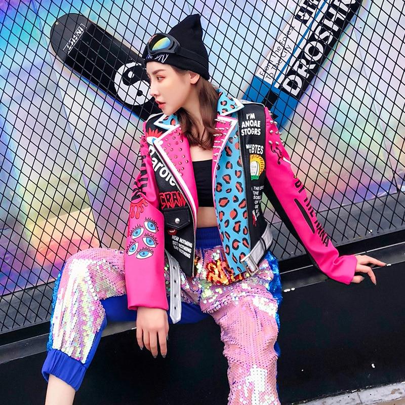 2019 estilo Punk moda mujer chaqueta abrigo remaches cuentas Pu cuero mujeres bombardero chaqueta Oversize Cool chaqueta Top para mujer-in chaquetas básicas from Ropa de mujer    3