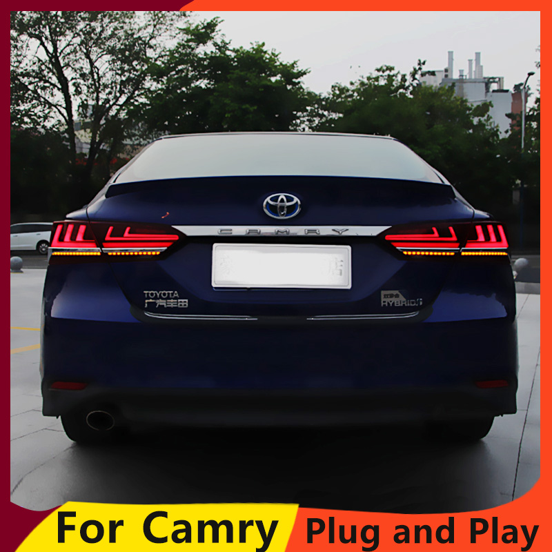KOWELL Car Styling for Toyota Camry 2018 taillights LED Tail Lamp rear trunk lamp cover drl+dynamic signal+brake+reverse