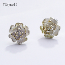 Beautiful real 925 stud earrings Rose flower jewelry Lovely Jewellery accessories sterling silver Gifts for Women earring