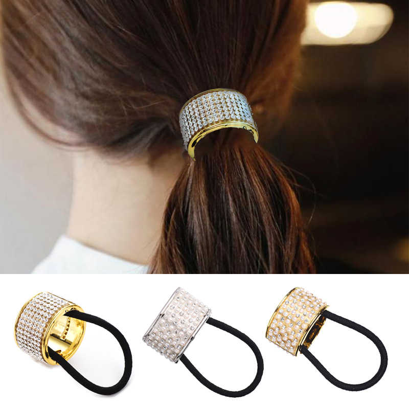 M MISM Hairband Pearl Women Hair Accessories Scrunchy Punk Ponytail Holder Plastic Crystal Gum for Hair Ring Elastic Hair Band