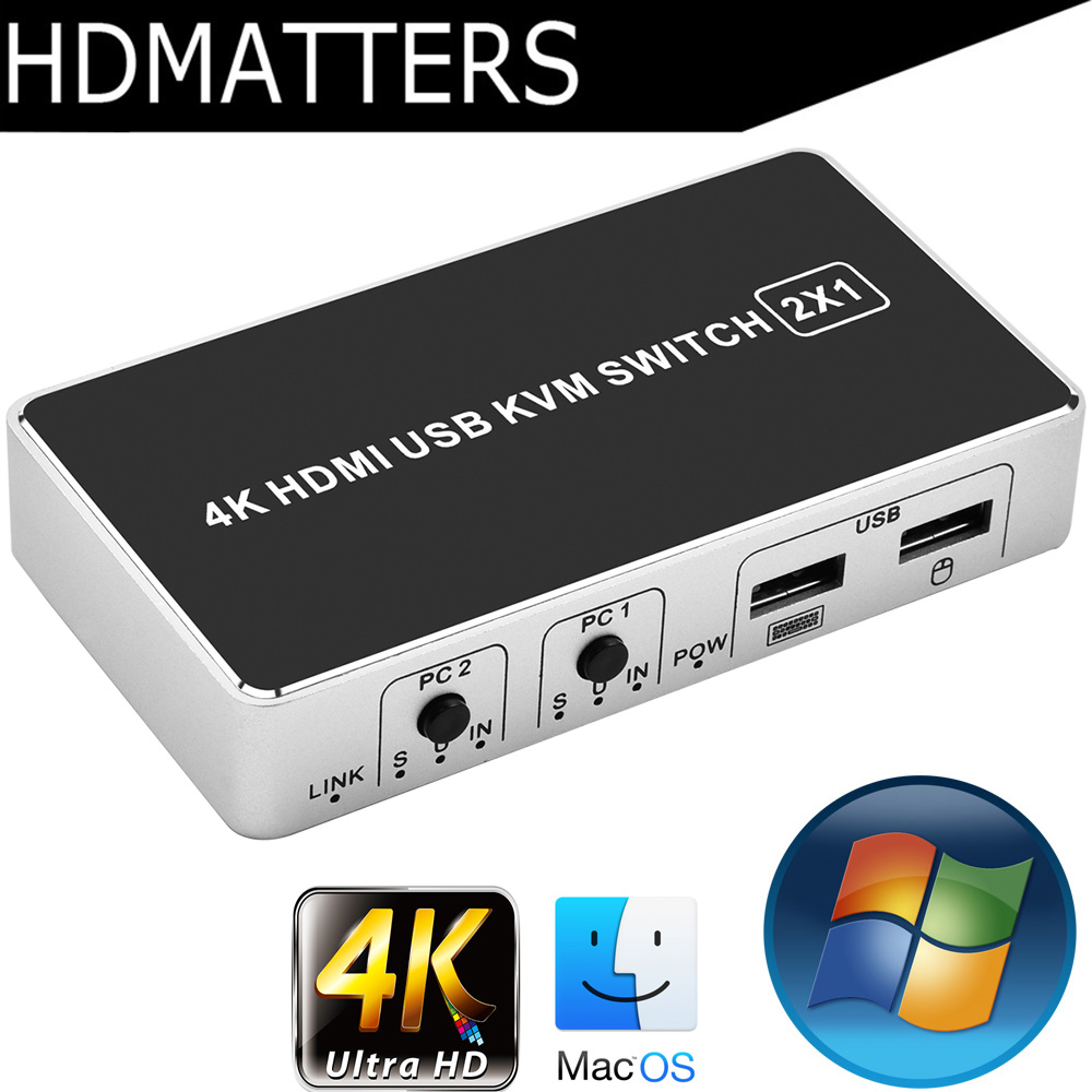 4K HDMI KVM Switch 4/2 port 3840X2160P USB HDMI 1.4 KVM Switcher control up to 4/2 monitors for mac os. windows 10 image