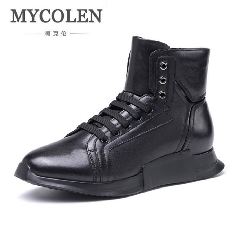 MYCOLEN High Quality High Top Men Casual Shoes Fashion Winter Comfort Male Shoes Adult Men Lace Up Walking Shoes Black Footwear mycolen high quality men white leather shoes fashion high top men s casual shoes breathable man lace up brand shoes