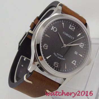 42mm Corgeut Black Dial Sapphire Glass Date Stainless steel Polished Case Leather Luxury Miyota Automatic Movement Men's Watch
