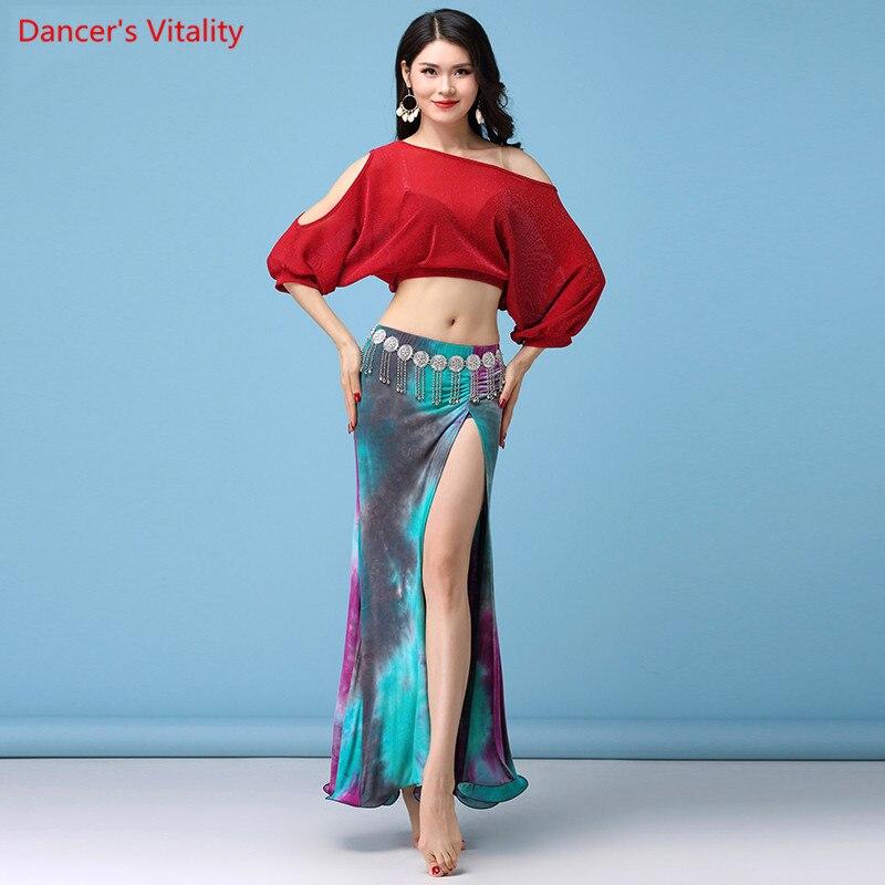 2018 Women Belly Professional Silver Line Net Yarn Top / Long Cotton Skirt Set Belly Dance Dance Set For Girls