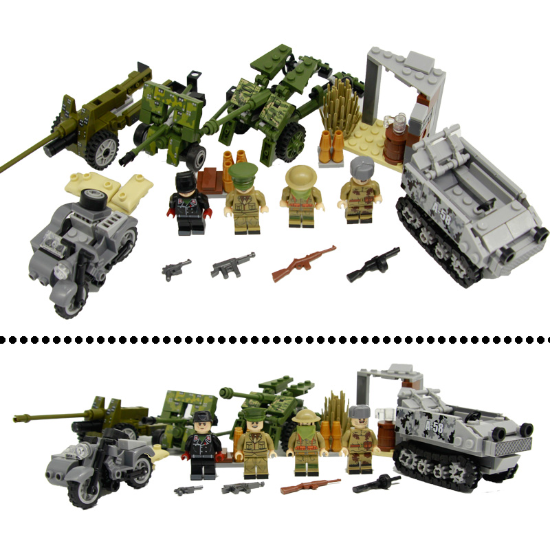 WW2 Military U.S Army Soilders Gun Weapons Building Block Figures Accessories Brick German Panzer Motorcycle Model Toys Children tobyfancy tamiya 1 35 ww2 german steyr type 1500a 01 military miniature ready to assembly model kit